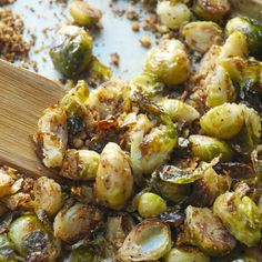 Panko and Parmesan Roasted Brussel Sprouts Recipe Side Dishes with brussels sprouts, parmesan cheese, Italian seasoned panko bread crumbs, olive oil, salt, pepper, garlic powder