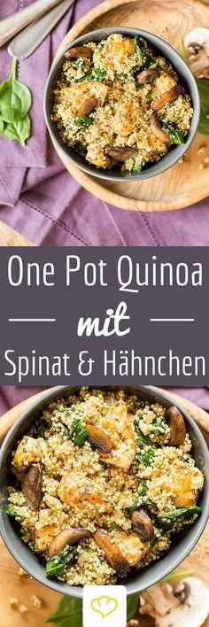 Wenn Quinoa und Spinat auf deinem Teller landen, darfst du dich über Superfood der Extraklasse freuen. Spinat enthält besonders viel Eisen, Quinoa ist reich an Aminosäuren und zusammen mit Hähnchen wird aus ihnen ein proteinreiches One-Pot-Gericht.