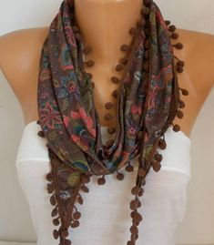 Brown Floral Tricot Scarf,Pompom Scarf, Bohemian Spring Summer Scarf Cowl Gifts For Her Women's Fashion Accesories