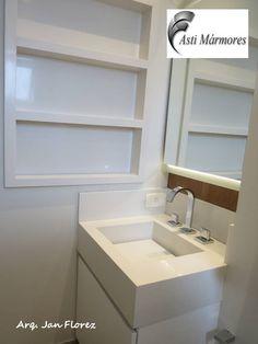 Nicho externo e lavatório com cuba de pedra em Branco Prime.  Arquiteto Jan Florez #astimarmores #cubadepedra #brancoprime #janflorez #nicho #nichoexterno #branco #clean