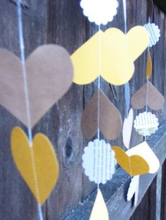 Yellow and Kraft Hearts Paper Garland by MintAfternoon on Etsy, $ 9.00