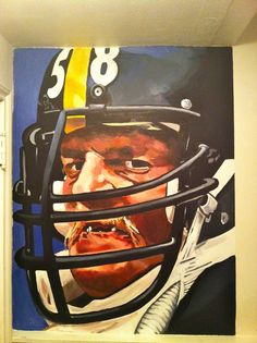 Steelers - Jack Lambert  3 ft by 4 ft - residential mural $350