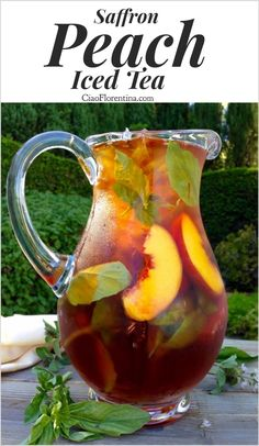 Healthy Skin Iced Saffron Tea Recipe with Peach and Basil , an exotic burst of aromas in the most refreshing of summer's iced teas with notes of vanilla . Refreshing Drinks, Fun Drinks, Yummy Drinks, Healthy Drinks, Beverages, Healthy Smoothies, Healthy Food, Healthy Recipes, Best Iced Tea Recipe