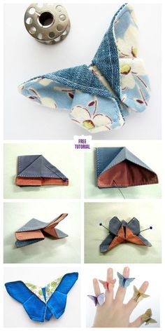 Fabric origami - DIY origami fabric butterfly sewing pattern and instructions Lily de Sat Diy Origami, Fabric Origami, Origami Design, Origami Tutorial, Diy Tutorial, Origami Paper, Origami Butterfly Instructions, Origami Folding, Sewing Patterns Free