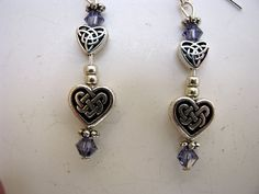 Celtic double heart earrings with swarovski by JoolsbyAveril