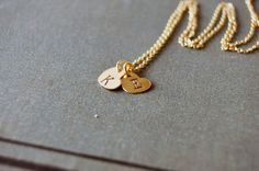 14k Gold Filled Double Heart Initial by TwoBlindMiceStudio on Etsy