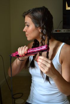 Super Easy Beachy Waves! Braid your hair into 3 separate braids and flat iron.