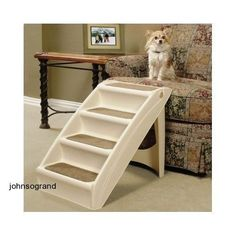 Pet Stairs Cat Dog Puppy Ramp Steps Folding Step Easy Storage Plastic #Solvits