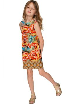 Fox Adele Pretty Printed Stylish Shift Yellow Dress - Girls