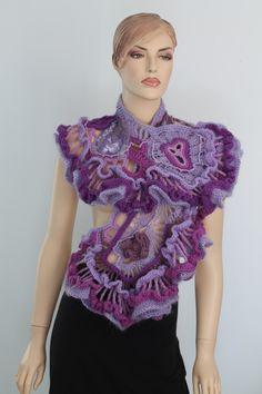 Ruffle Lace Lilac Violet Purple Freeform Crochet Shawl / Wearable Art / OOAK. $245.00, via Etsy.