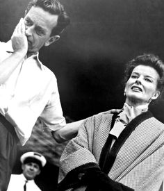 Katharine Hepburn and director David Lean, during the filming of Summertime, 1955.