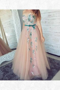 On Sale Comfortable Long Prom Dresses PinK Sweetheart Neck Tulle Lace Applique Long Prom Dress, Pink Evening Dress Floral Prom Dresses, Dresses Short, A Line Prom Dresses, Tulle Prom Dress, Lace Dress, Tulle Lace, Pink Dresses, Party Dresses, Corset Dresses