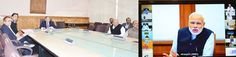 Prime Minister Narendra Modi interacting through video conference with Chief Secretary of J&K.