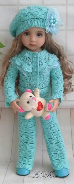 Outfit for Little Darling Click Visit link above for more options Crochet Doll Clothes, Sewing Dolls, Knitted Dolls, Doll Clothes Patterns, Girl Doll Clothes, Crochet Dolls, Barbie Clothes, Girl Dolls, Crochet Baby