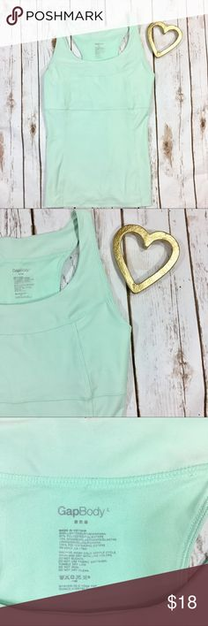 "Gap Body Athletic Tank In excellent used condition! Bust: 33"" Length: 25.5"" Color: Sea foam Green 🚫 No trades! Reasonable offers and bundles accepted! GAP Tops Tank Tops"
