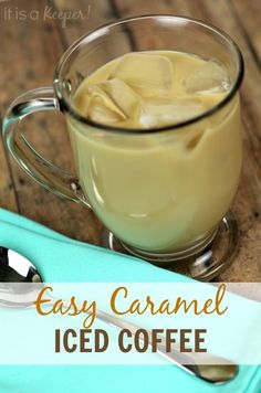 This Easy Caramel Iced Coffee is incredibly delicious! It's one of my favorite easy coffee recipes!