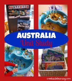 Australia Unit Study from Creekside Learning - Great barrier wreath in sand table and animal habitats
