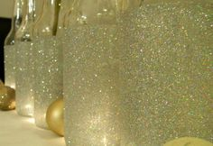 Recycle: bottles of wine, glue and glitters
