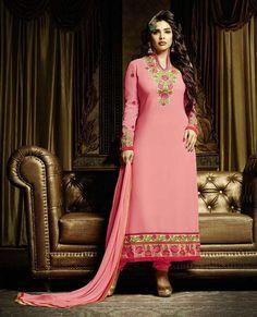 Pink Georgette Pakistani Style Suit 60086