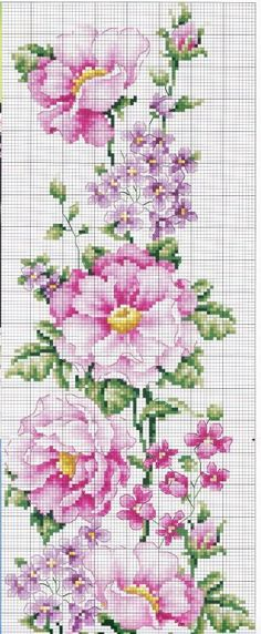 flori roz minunate - schita de cusut