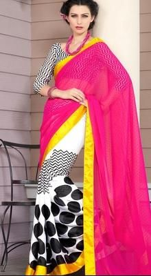 White and Pink Printed Half N Half Saree