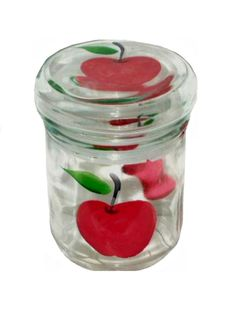 Apples Canister Hand Painted Glass Jar $10.95
