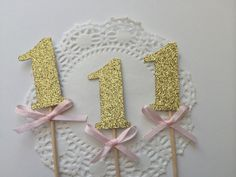 20 Gold Glitter Number Cupcake Toppers with Pink Bow. 1st Birthday, Birthday Cupcake Topper, Pink and Gold Party.