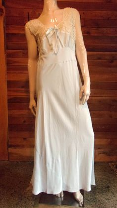 Vintage Lingerie 1940s LADY EDSO Light Blue Size 38 Nightgown by ReallyCoolClothes on Etsy
