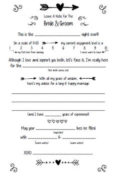 Wedding Mad Libs Customize  Digital File by McCalesterDesigns, $5.00