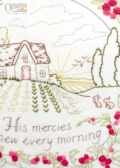 His Mercies Are New - 100% Cotton Embroidery Pattern - $10.00