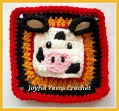 Cow Applique/Square - Free crochet pattern on Craftsy by Joyful Yarns Crochet.