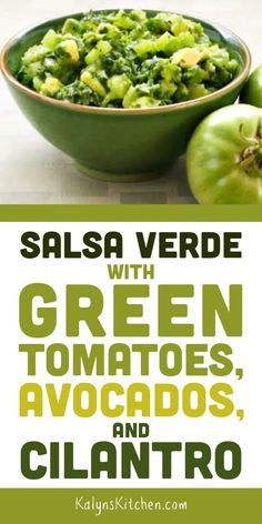 If you've got green tomatoes and need a way to use them, this Salsa Verde with Green Tomatoes, Avocados, and Cilantro is really tasty! Green Zebra Tomato, Green Tomato Salsa, Green Tomato Recipes, Green Tomatoes, Vegetable Recipes, Delicious Vegan Recipes, Tasty, Goody Recipe, Salsa Verde Recipe