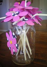 Decorated Straw  #cute #pink #flower #diy