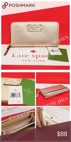 """New Kate Spade rose gold leather accordion wallet 100% authentic Kate Spade Neda long zip clutch wallet. Rose gold boarskin embossed cowhide with 14-karat light gold plated hardware. Zip around closure and fabric lining. 12 card slots, billfold slots, center zip compartment, and multiple full length compartments. Back slip pocket. Measures 7.75"""" x 4"""". Brand new with tags. Comes from a pet and smoke free home. kate spade Bags Wallets"""