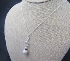 Necklace, Sterling and Freshwater Pearl Drop - Bridal Jewelry