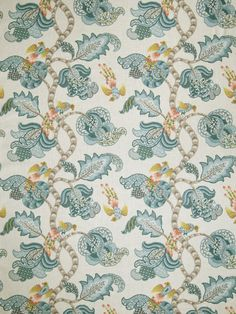 Coral and Blue Fabric  Modern Light Blue Bird Upholstery