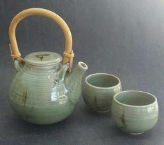 VIVIKA & OTTO HEINO CELADON TEA POT & 2 CUPS SET, all original, mint EX RARE!