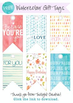 Twilight Creative: DIY FREEBIE - Watercolour Gift Tags! || #Free #Design #Printable