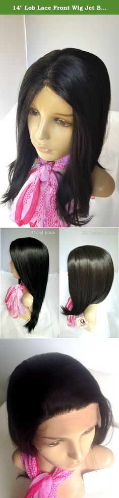 """14"""" Lob Lace Front Wig Jet Black #1 Silky Straight Long Bob Hairstyle Synthetic Kanekalon Heat Friendly Fire Resistant Fiber Glueless for African Black Women. Whether you plan on going for a night out on the town or to a professional event, you will be sure to turn heads by wearing our deluxe lace front wig. Hair strands are attached onto mesh lace in front of the wigs' hairline. It can be temporarily glued to one's skin around the hairline, so you can't see where the lace starts or ends...."""