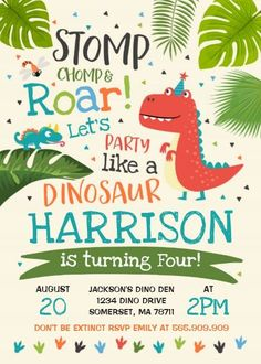 Gather guests with amazing Dinosaur Dinosaur Birthday birthday invitations from Zazzle! Birthday party invitations in a range of themes! Boys First Birthday Party Ideas, Fourth Birthday, 4th Birthday Parties, Dinosaur Birthday Invitations, Dinosaur Birthday Party, Dinosaur Cake, Elmo Party, Mickey Party, Party Party