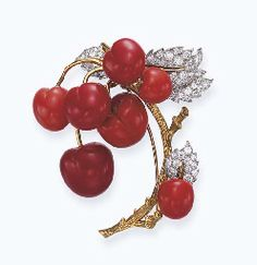 Magnificent coral and diamond brooch