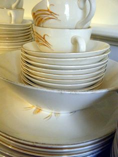 Working on my set of Duz Golden Wheat dishes