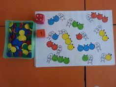 Jeu sur les couleurs et la construction du nombre Preschool Projects, Preschool Letters, Preschool Kindergarten, Montessori Math, Free Frames, Math Numbers, Very Hungry Caterpillar, Eric Carle, Teaching French