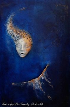 """""""BLUE ANGEL"""" A striking face emerges from a deep cobalt abyss. Rays of gold light brush upon the surface, and a power is set free. A wing is touched with sapphire light and shades of white. As branches of life reach forward, hope is born, and we are safe once more. - www.FaeFactory.com"""