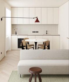 Very simple white kitchen in an open plan living space, feature lighting and minimalist furniture Minimalist Furniture, Minimalist Interior, Minimalist Bedroom, Minimalist Home, Small Space Living, Living Spaces, Living Room Kitchen, Dining Room, Interior Design Kitchen