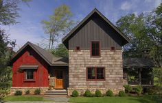 Red push-out casement windows (Kolbe's casement in Chutney) bring a sense of cohesion to a mixed-media farmhouse facade by Christopher Kellie Design.  Explore an 1830s farmhouse remodel that plays up a range of colors.