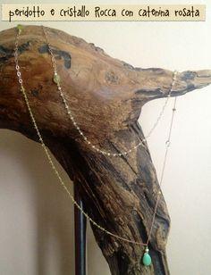 collana rosario peridotto e cristallo di rocca con goccia crisoprasio