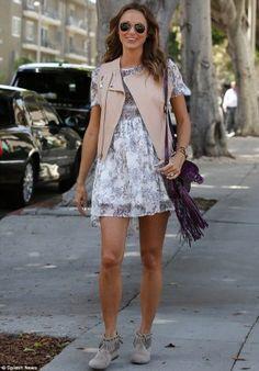 Stacy Keibler wearing Ray-Ban 3025 Large Metal Aviator Sunglasses. Stacy Keibler Santa Monica June 18 2014