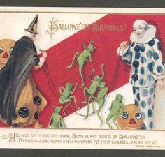 RARE Schmucker Halloween Image Devils Clowns Witch Winsch Reproduction Postcard | eBay