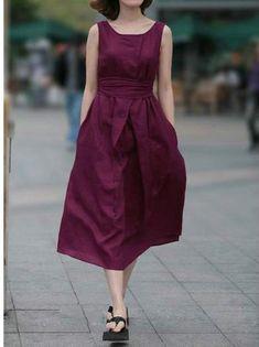 年末大セール - 亜麻・コットン素材使いウエスト後ろにリボン飾り無地ノースリーブワンピース